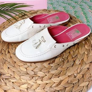Lilly Pulitzer Patent Leather Mule White Shoes